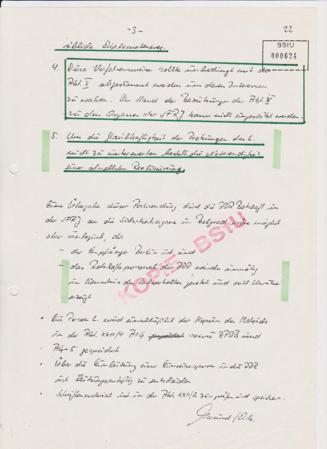 Ich hatte nie die Absicht einen Anschlag auf den Minister Oskar Fischer zu verüben. Das MfS hatte eigentlich Angst vor KOS - Militärischem Abschirmdienst  TITO´s!